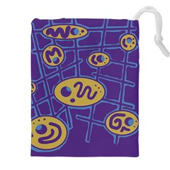 Purple And Yellow Abstraction Drawstring Pouches (xxl) by Valentinaart