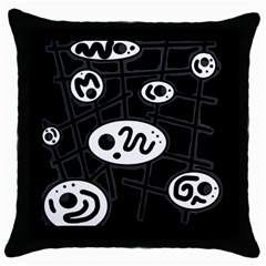 Black And White Crazy Abstraction  Throw Pillow Case (black) by Valentinaart