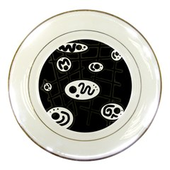 Black And White Crazy Abstraction  Porcelain Plates by Valentinaart