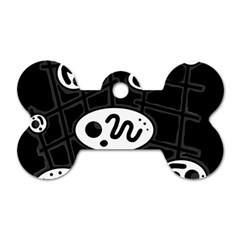 Black And White Crazy Abstraction  Dog Tag Bone (one Side) by Valentinaart