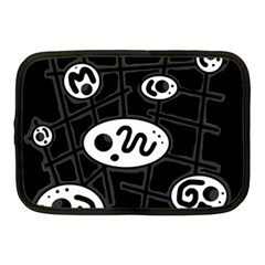 Black And White Crazy Abstraction  Netbook Case (medium)  by Valentinaart
