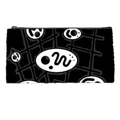 Black And White Crazy Abstraction  Pencil Cases by Valentinaart