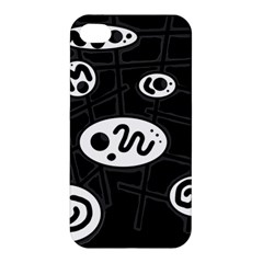 Black And White Crazy Abstraction  Apple Iphone 4/4s Premium Hardshell Case by Valentinaart