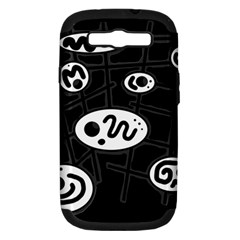 Black And White Crazy Abstraction  Samsung Galaxy S Iii Hardshell Case (pc+silicone) by Valentinaart