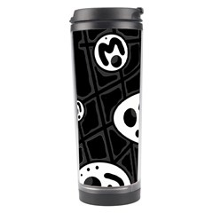 Black And White Crazy Abstraction  Travel Tumbler by Valentinaart