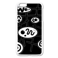 Black And White Crazy Abstraction  Apple Iphone 6 Plus/6s Plus Enamel White Case by Valentinaart