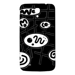 Black And White Crazy Abstraction  Samsung Galaxy Mega I9200 Hardshell Back Case