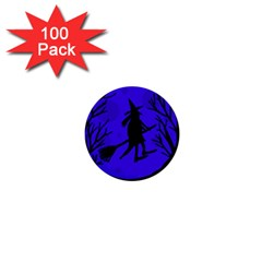 Halloween Witch   Blue Moon 1  Mini Buttons (100 Pack)  by Valentinaart