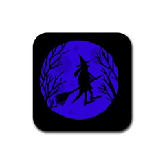 Halloween Witch   Blue Moon Rubber Square Coaster (4 Pack)  by Valentinaart