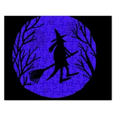 Halloween Witch   Blue Moon Rectangular Jigsaw Puzzl by Valentinaart