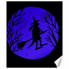 Halloween Witch   Blue Moon Canvas 8  X 10  by Valentinaart