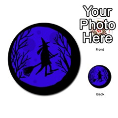 Halloween Witch   Blue Moon Multi Purpose Cards (round)  by Valentinaart