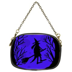 Halloween Witch   Blue Moon Chain Purses (two Sides)