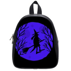 Halloween Witch - Blue Moon School Bags (small)  by Valentinaart
