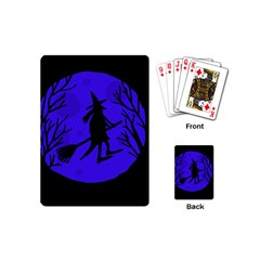 Halloween Witch   Blue Moon Playing Cards (mini)  by Valentinaart