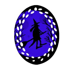 Halloween Witch   Blue Moon Oval Filigree Ornament (2 Side)  by Valentinaart