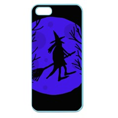 Halloween Witch   Blue Moon Apple Seamless Iphone 5 Case (color) by Valentinaart