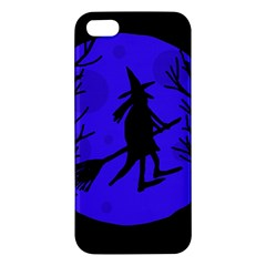 Halloween Witch   Blue Moon Apple Iphone 5 Premium Hardshell Case by Valentinaart