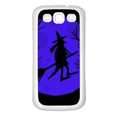 Halloween Witch   Blue Moon Samsung Galaxy S3 Back Case (white) by Valentinaart