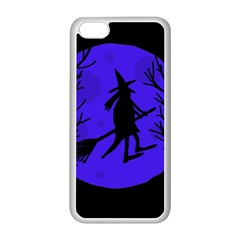 Halloween Witch   Blue Moon Apple Iphone 5c Seamless Case (white) by Valentinaart