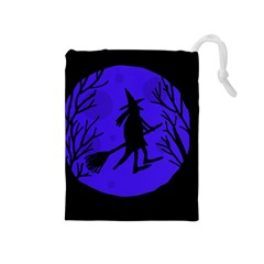 Halloween Witch   Blue Moon Drawstring Pouches (medium)  by Valentinaart