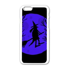 Halloween Witch   Blue Moon Apple Iphone 6/6s White Enamel Case by Valentinaart