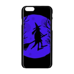 Halloween Witch   Blue Moon Apple Iphone 6/6s Black Enamel Case by Valentinaart