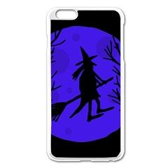 Halloween Witch   Blue Moon Apple Iphone 6 Plus/6s Plus Enamel White Case by Valentinaart