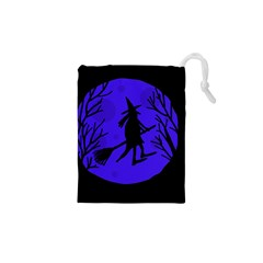 Halloween Witch   Blue Moon Drawstring Pouches (xs)  by Valentinaart