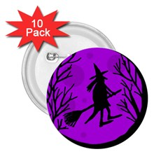 Halloween Witch   Purple Moon 2 25  Buttons (10 Pack)  by Valentinaart