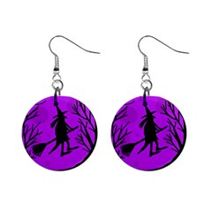 Halloween Witch   Purple Moon Mini Button Earrings by Valentinaart