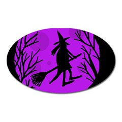 Halloween Witch   Purple Moon Oval Magnet by Valentinaart