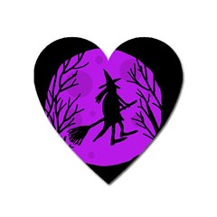 Halloween Witch - Purple Moon Heart Magnet by Valentinaart