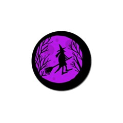 Halloween Witch   Purple Moon Golf Ball Marker by Valentinaart