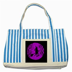 Halloween Witch   Purple Moon Striped Blue Tote Bag by Valentinaart