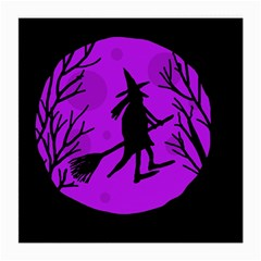 Halloween Witch   Purple Moon Medium Glasses Cloth (2 Side) by Valentinaart