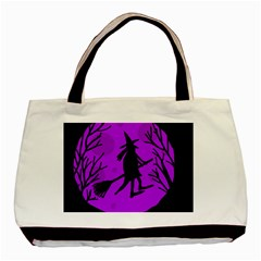 Halloween Witch   Purple Moon Basic Tote Bag (two Sides) by Valentinaart