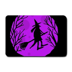 Halloween Witch   Purple Moon Small Doormat  by Valentinaart