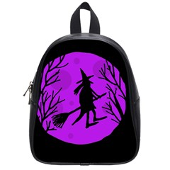 Halloween Witch   Purple Moon School Bags (small)  by Valentinaart