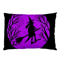 Halloween Witch   Purple Moon Pillow Case (two Sides) by Valentinaart