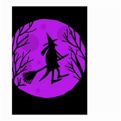 Halloween Witch   Purple Moon Small Garden Flag (two Sides) by Valentinaart