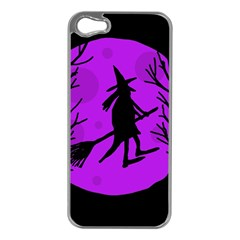 Halloween Witch   Purple Moon Apple Iphone 5 Case (silver) by Valentinaart