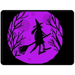 Halloween Witch   Purple Moon Double Sided Fleece Blanket (large)  by Valentinaart