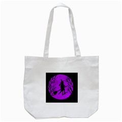 Halloween Witch   Purple Moon Tote Bag (white) by Valentinaart