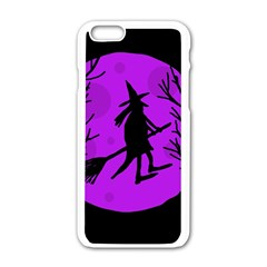 Halloween Witch   Purple Moon Apple Iphone 6/6s White Enamel Case by Valentinaart