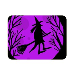 Halloween Witch   Purple Moon Double Sided Flano Blanket (mini)  by Valentinaart