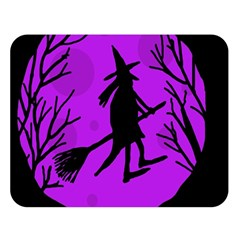 Halloween Witch   Purple Moon Double Sided Flano Blanket (large)  by Valentinaart