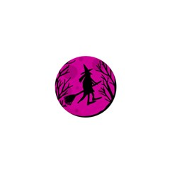 Halloween Witch   Pink Moon 1  Mini Buttons by Valentinaart