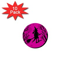 Halloween Witch   Pink Moon 1  Mini Buttons (10 Pack)  by Valentinaart