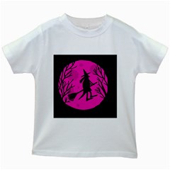Halloween Witch   Pink Moon Kids White T Shirts by Valentinaart